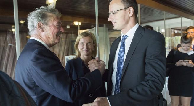 Jean Asselborn luxemburgi külügyminiszter és Szijjártó Péter külgazdasági és külügyminiszter az ET miniszteri bizottságának ülésén . Fotó: Burger Zsolt KKM/MTI