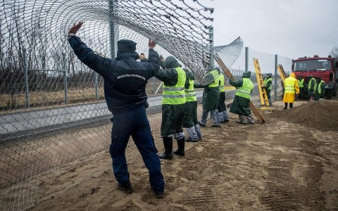 Elítéltek építik a szerb-magyar határszakaszon a második sor kerítést. Fotó: Ujvári Sándor, MTI