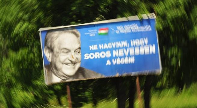 Soros ellen uszító óriásplakát Siklóson
