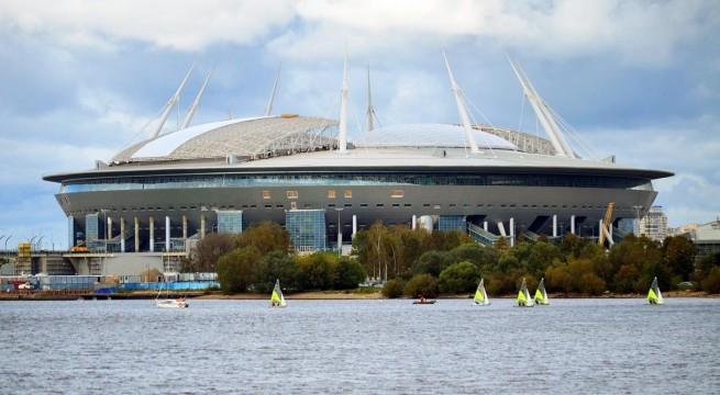 A szentpétervári Zenit stadion, a VB egyik helyszíne
