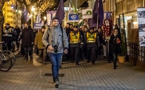 Sóki Tamás Pécsen, a januári tüntetésen. Fotó: Kacsúr Tamás, SH/7800