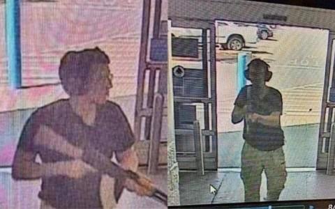 Biztonsági kamerák felvétele, amint a támadó a WalMartba lép.