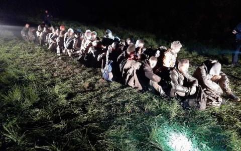 rendőrségi felvétel a Kislippó mellett talált határsértőkről