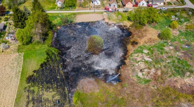 Diósviszlón a három focipályányi területen felcsapó tűz lakóházakat is veszélyeztetett.