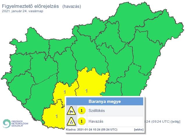 Széllökésekre és havazásra figyelmeztetnek Baranyában