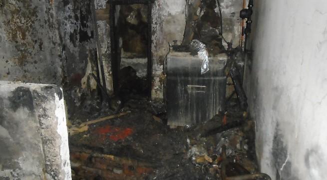 Kiégett kazánház Vokányban - fotó: katasztrófavédelem